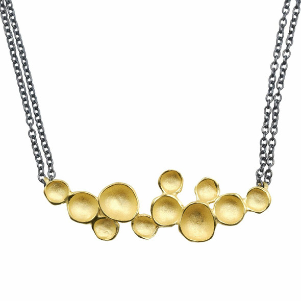 Gold Vermeil Seed Pod Necklace, close up