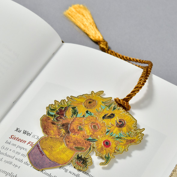 Van Gogh Sunflowers Bookmark in book