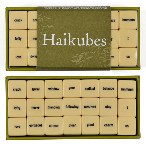 Haikubes, top of packaging and inside