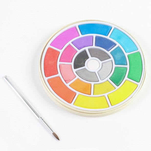 Watercolor Wheel with paintbrush