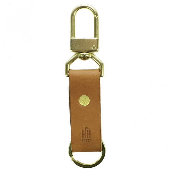 Leather & Brass Keychain - Tan, front