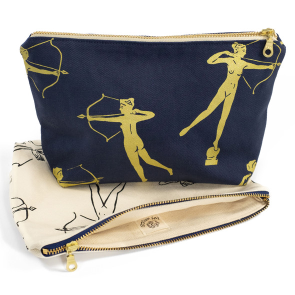 Diana Pouch in navy with Diana Pouch in natural cotton