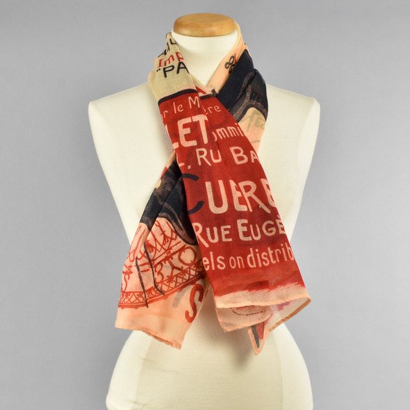 Cream, Black, and Red Chat Noir Scarf On Manikin in a Simple Loop