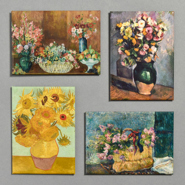 Impressionist Flowers Magnet Set of All Four Magnets Included in Set