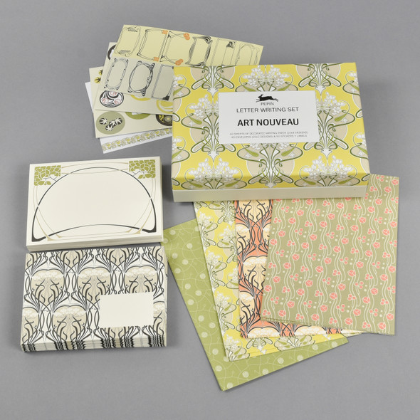 Art Nouveau Letter Writing Set Box with Envelopes, Papers, and Stickers