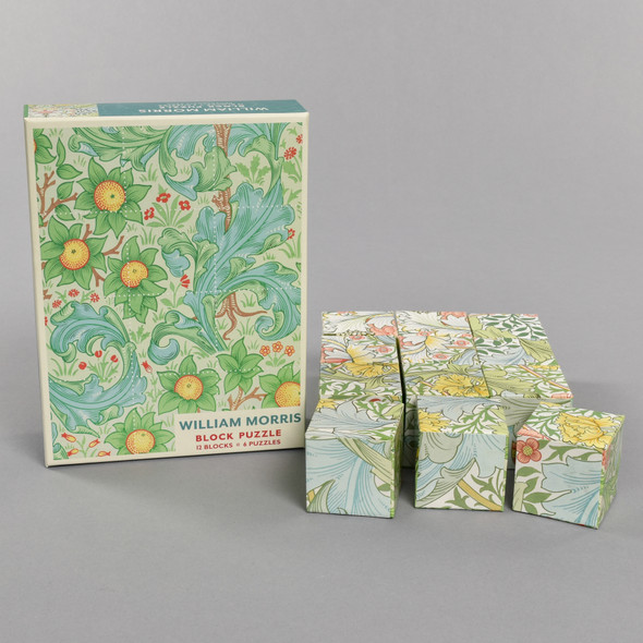 William Morris Block Puzzle Box Front with Set of Multi-faced Puzzle Blocks