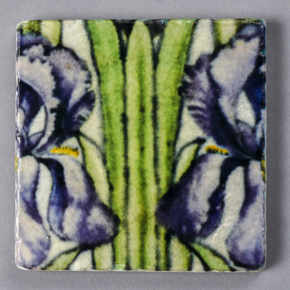 Purple Frend de Morgan Iris Coaster Painted Front