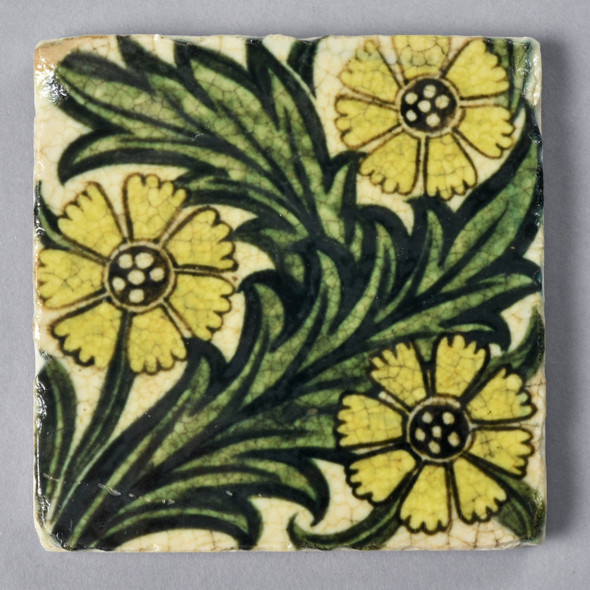 Frend de Morgan Yellow Flowers Coaster Painted Front