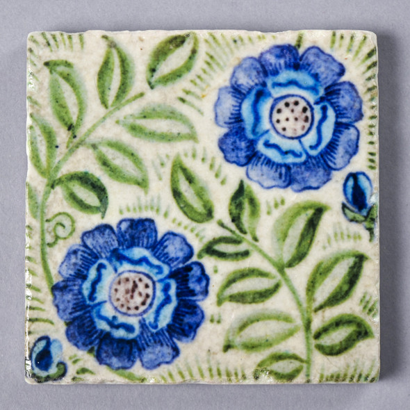 Frend de Morgan Blue Flowers Coaster Painted Front