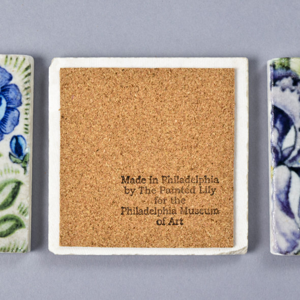 Frend de Morgan Blue Flowers Coaster Cork Back Stamped with 'Made in Philadelphia by the Painted Lady for the Philadelphia Museum of Art'