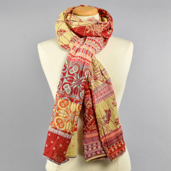 Organic Jacquard French Scarf: Paprika on Manikin Tied in a Double Loop