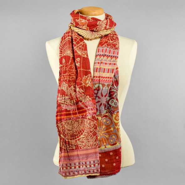 Organic Jacquard French Scarf: Paprika on Manikin Tied in a Cowl Neck