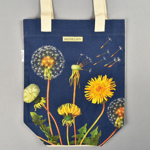 Navy Dandelion Tote Bag Front Lying Flat