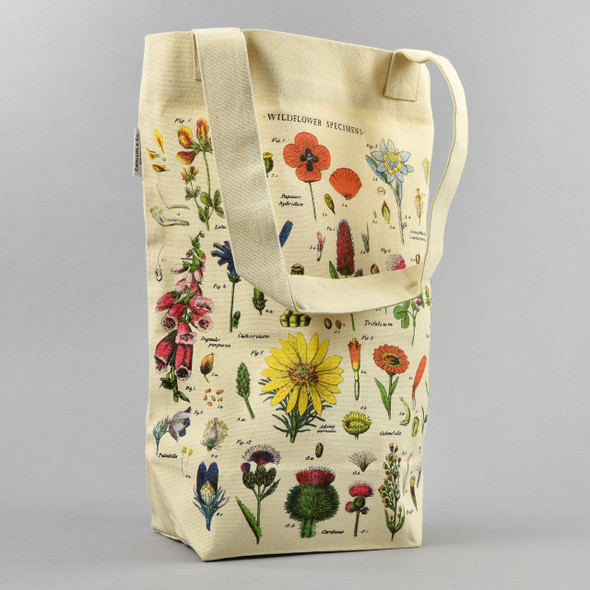 Cream Wildflower Specimens Tote Bag Standing Up with Handle in Front