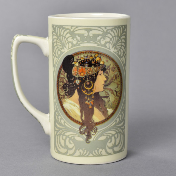 Mucha Tetes Byzantines Mug Left Side with Brunette Woman Profile
