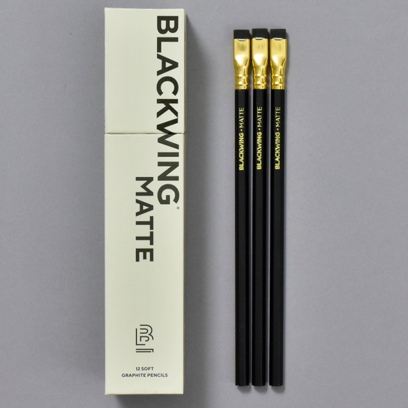 Blackwing Soft Graphite Pencils • Matte Black, pencils and front of box