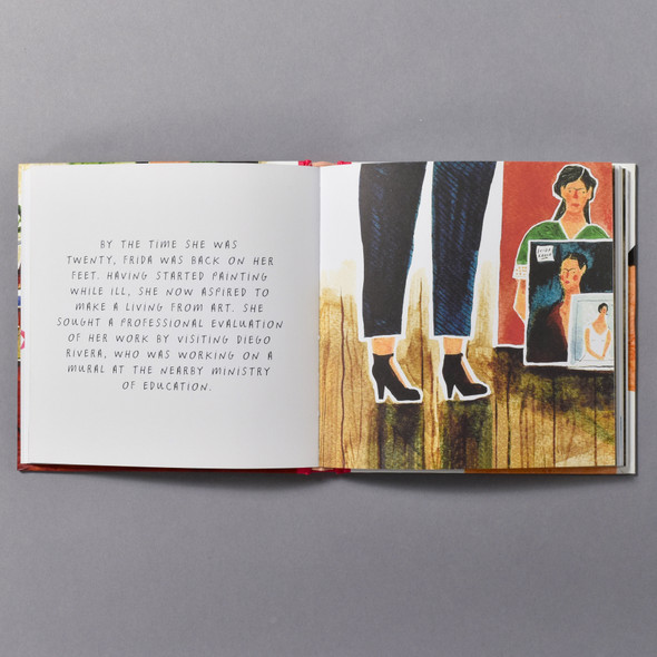 "Interior of the book ""Frida Kahlo: An Illustrated Biography"" by Zena Alkayat and Nina Cosford"