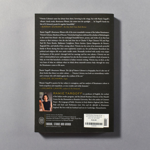 """Back of the book """"Renaissance Woman: The Life Of Vittoria Colonna"""" by Ramie Targoff"""
