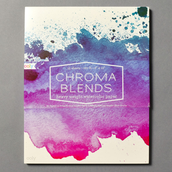 Front of Chroma Blends Watercolor Paper Pad with wrap around band (packaging)