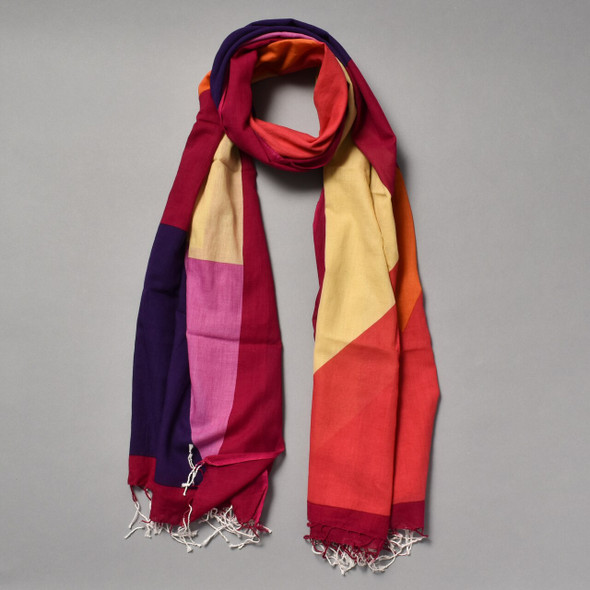 Heartmade Red & Purple Geometric Print Scarf