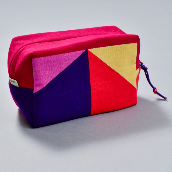Heartmade Red & Purple Geometric Print Zip Pouch