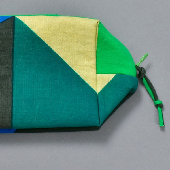 Heartmade Green Geometric Print Zip Pouch, close up