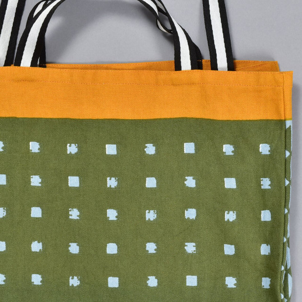 Heartmade Olive and Orange Medium Tote, close up