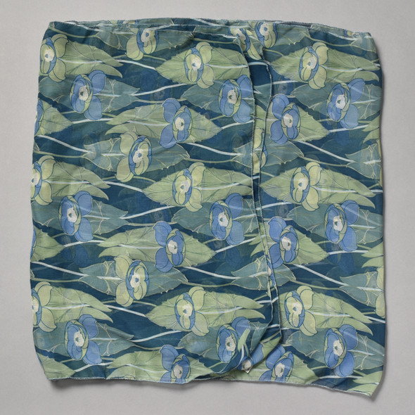 Blue and Green Iris Silk Scarf folded