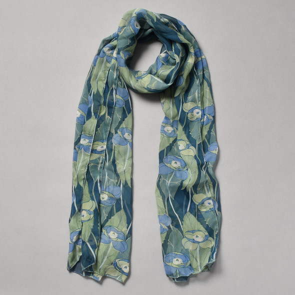 Blue and Green Iris Silk Scarf