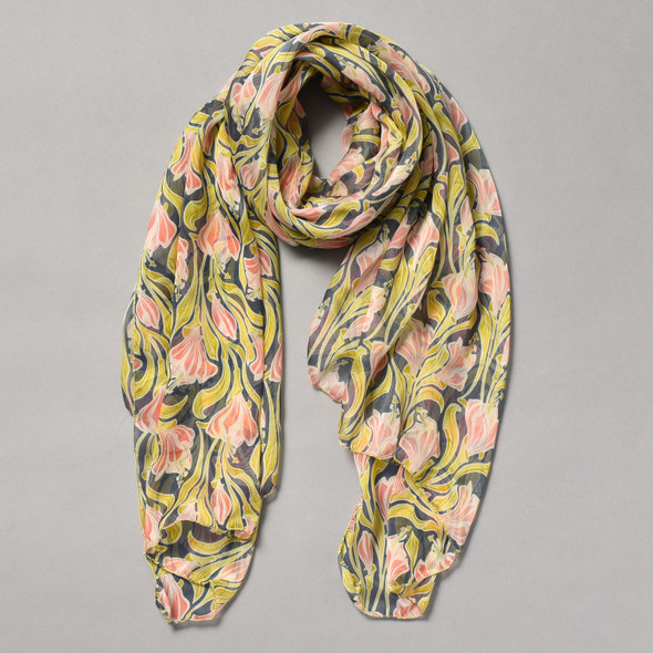 Pink and Indigo Nouveau Silk Scarf