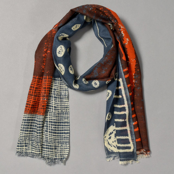 Indigo & Red Late Cosmos Scarf