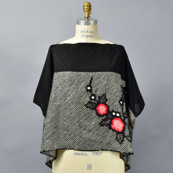One Of A Kind Black & Red Shibori Blouse on mannequin