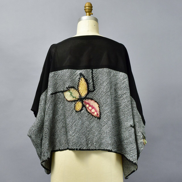 One Of A Kind Black Multi Silk Shibori Blouse, front