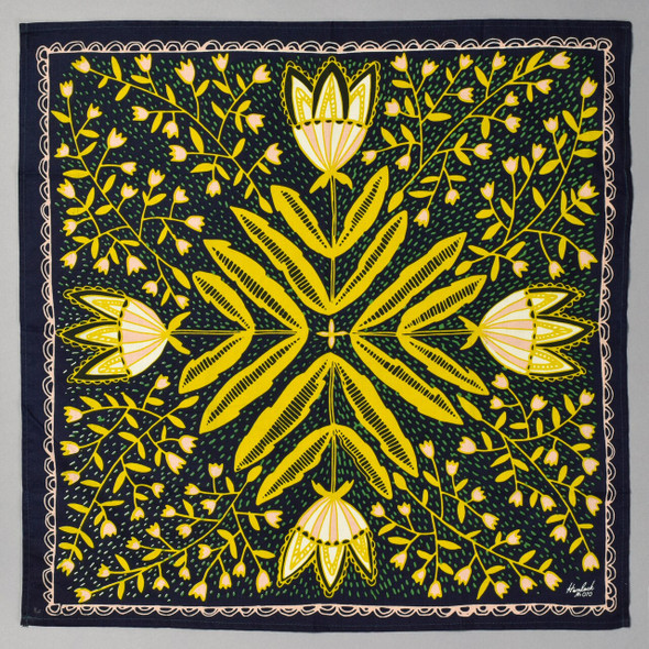 Navy With Yellow Tulips Bandana