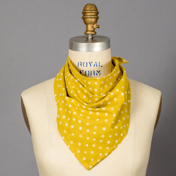 Ellis Mustard Dot Bandana on mannequin