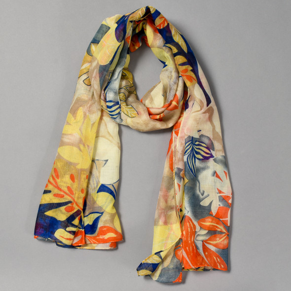 Yellow and Navy Tropical Fauna Scarf