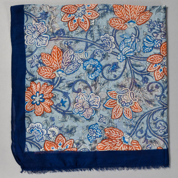 Navy and Salmon Tapestry Floral Scarf