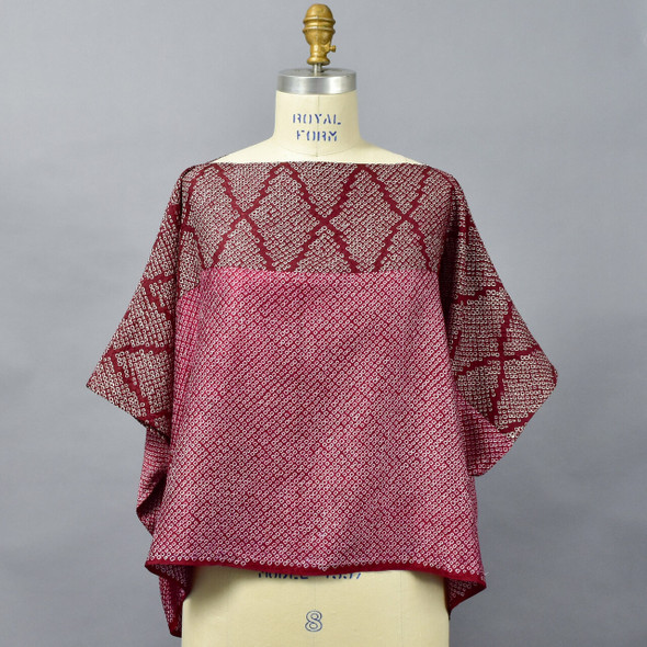 One Of A Kind Dark Red Silk Shibori Blouse