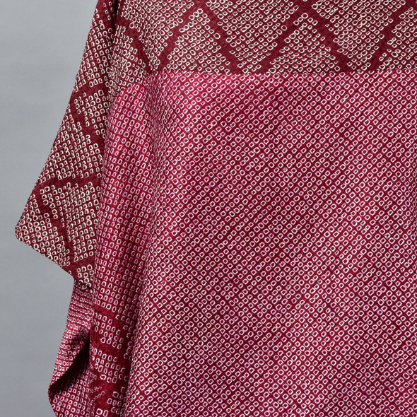 One Of A Kind Dark Red Silk Shibori Blouse, close up