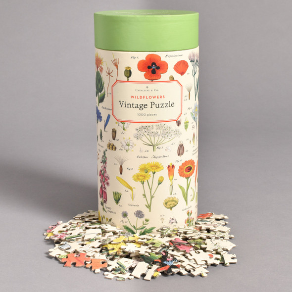 Wildflowers Vintage Puzzle canister with pieces