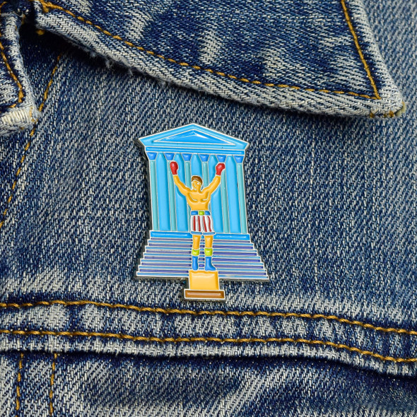 Philadelphia's Champion Enamel Pin on denim jacket