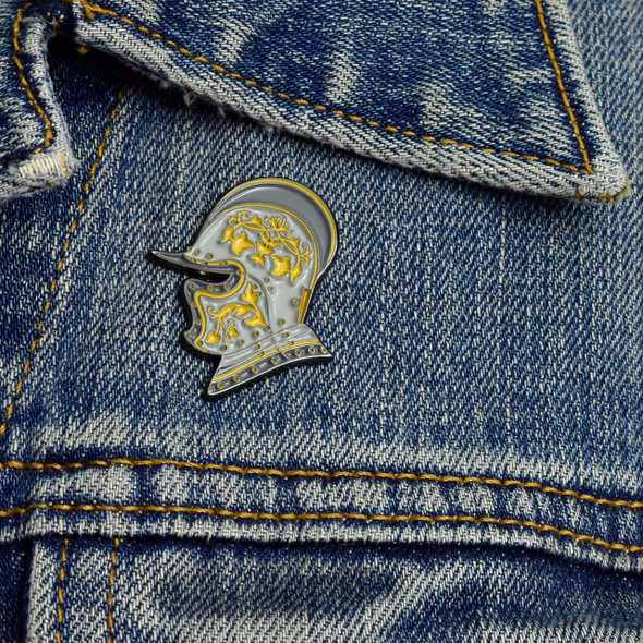 Burgonet (Helmet) Enamel Pin on denim jacket