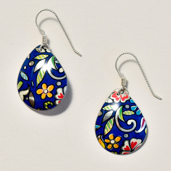 Vintage Tin Earrings Navy Floral Teardrop