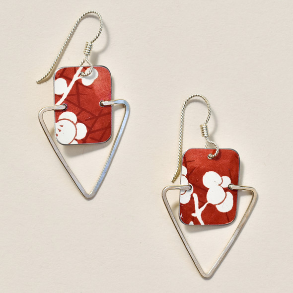 Vintage Tin White Flowers on Red Earrings