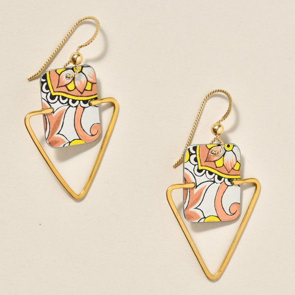 Vintage Tin Peach Earrings
