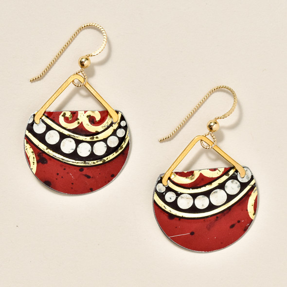 Vintage Tin Dark Red Earrings