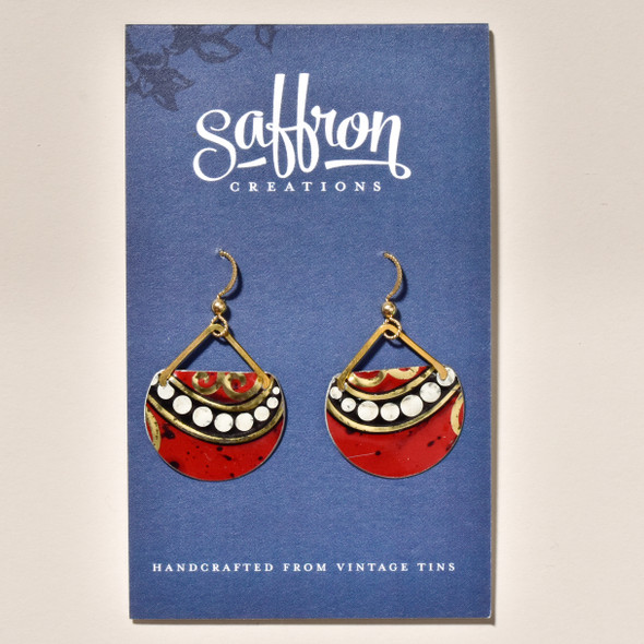 Vintage Tin Dark Red Earrings on card