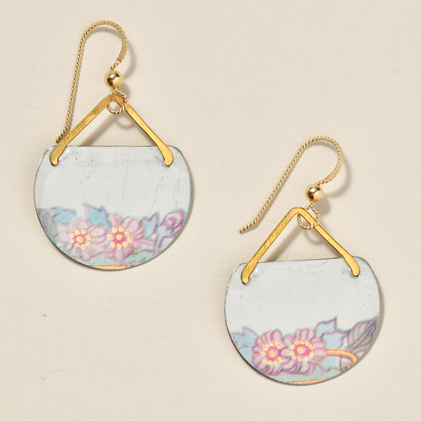 Vintage Tin Pink Floral Earrings