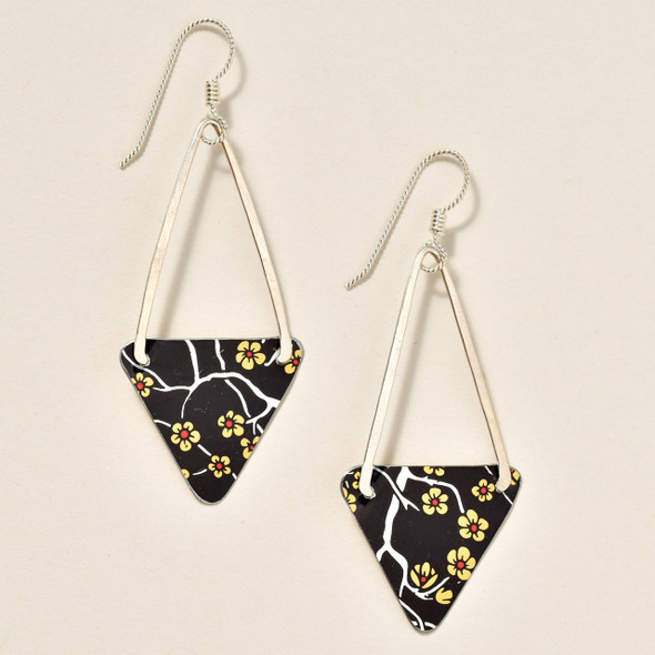 Vintage Tin Black Blossom Earrings