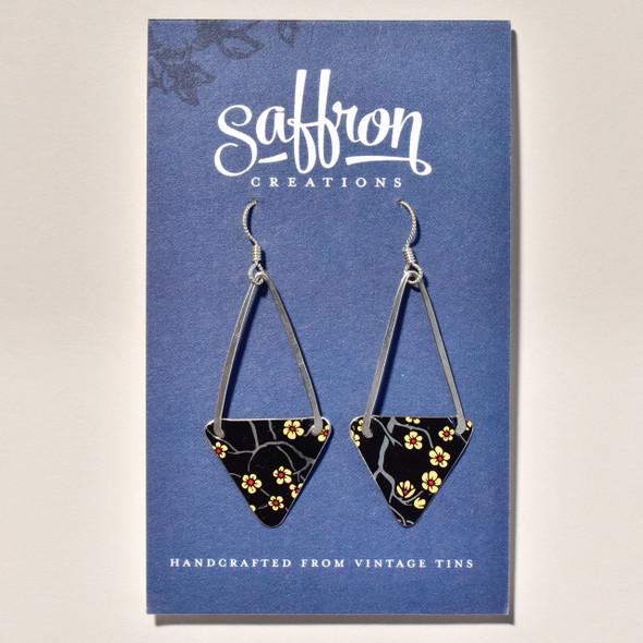 Vintage Tin Black Blossom Earrings on card
